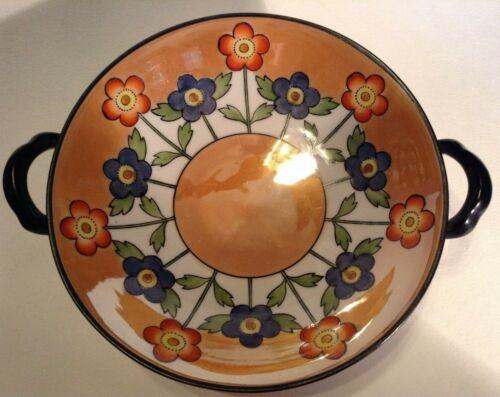 Noritake Luster Pedestal Bowl - Black Handles - Blue And Orange Flowers - Japan