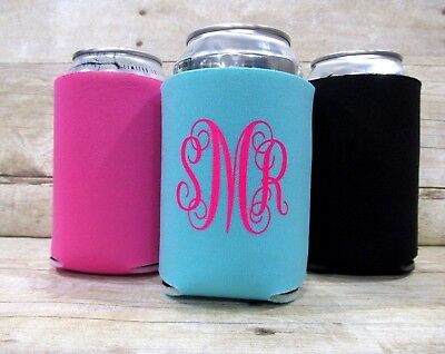 Monogrammed Neoprene Can Cooler Personalized Drink Holder Pick Your Colors