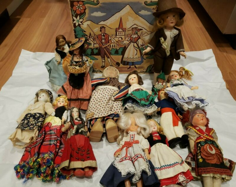 LOT OF 14 DOLLS FROM AROUND THE WORLD Made w/Bisque, Porcelain, Cloth & More Box