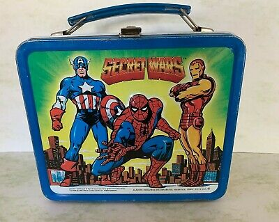 VINTAGE 1984 MARVEL COMICS SECRET WARS METAL LUNCHBOX ALADDIN SPIDERMAN (OS)