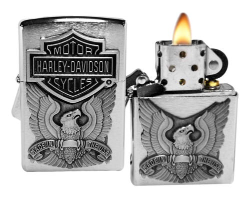 Zippo Harley-Davidson Eagle/Logo Emblem Lighter Pocket Light