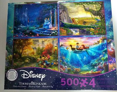 Thomas Kinkade Disney 4 in 1 500 Piece Puzzles Cinderella Lion King Mickey New