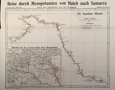 Mesopotamia 1916 Original Dr Samuel Guyer Journey Map No.3 Nasibin - Mosul
