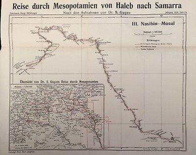 Mesopotamia 1916 Original Dr Samuel Guyer Journey Map No.3 Nasibin - Mosul