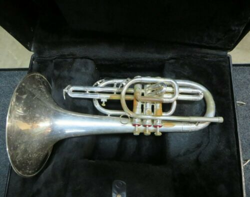Dynasty II DEG Silver Mellophone w/case - Just Serviced ready to play! #SM03