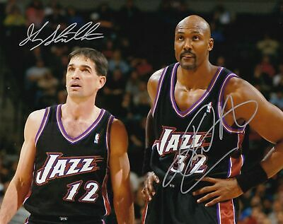 1fbeba045 JOHN STOCKTON / KARL MALONE Jazz HOF Autographed Signed 8X10 Photo REPRINT