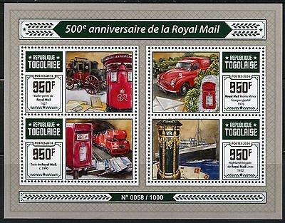 TOGO  2016  500th ANNIVERSARY OF THE ROYAL MAIL SHEET  MINT NH