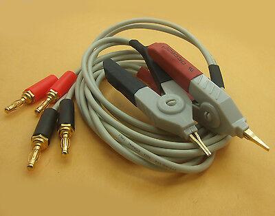 Lcr Kelvin Clip For Lcr Meter Gilded 4 Banana Plug Test Wires 2 Alligator Clips
