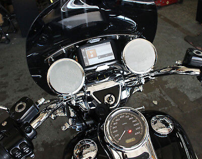 Marine Rated 4in Chrome Motorcycle Handlebar Speakers - Chrome Clamps