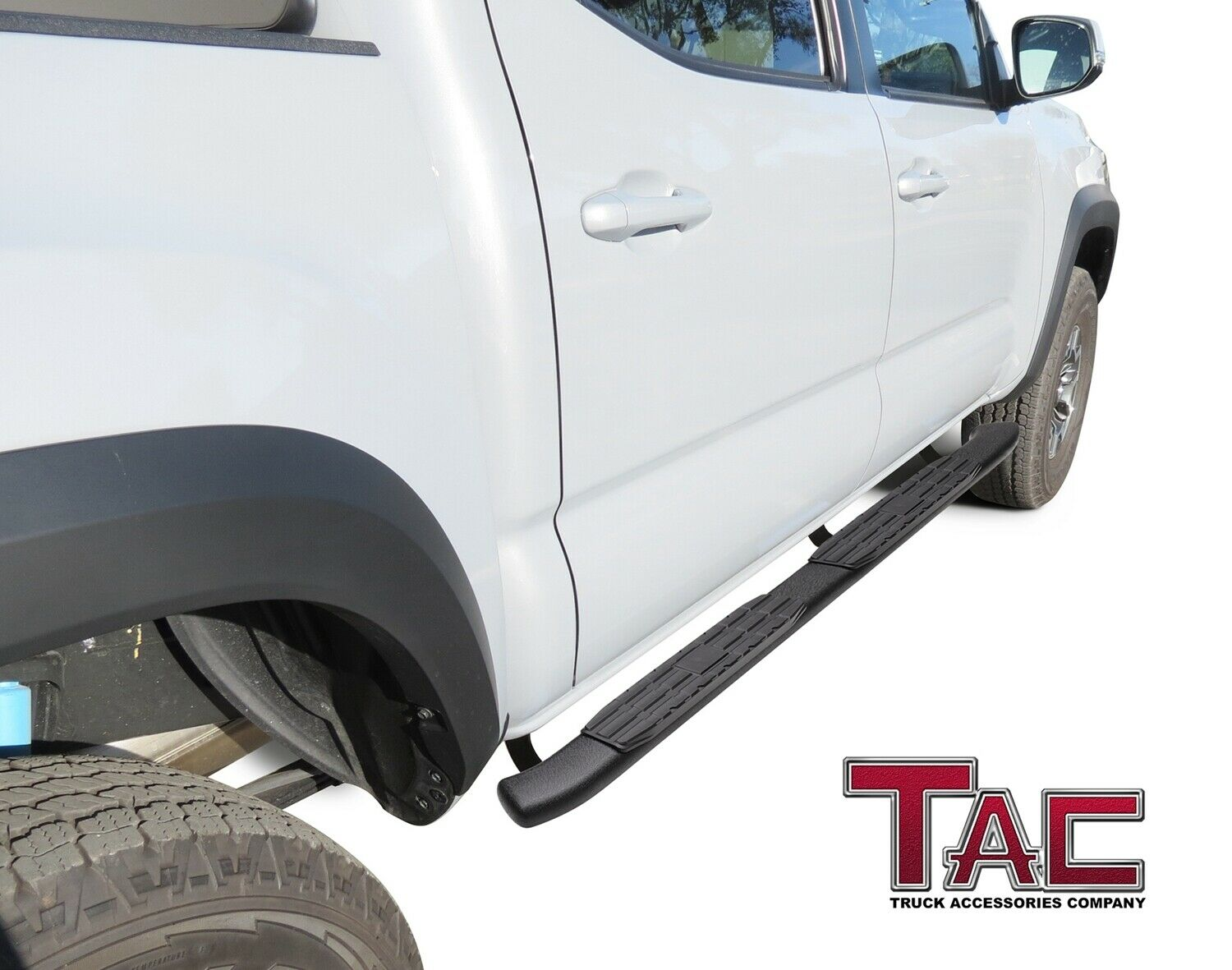 2 Pieces Running Boards TAC Side Steps Fit 2005-2019 Toyota Tacoma Double Cab Truck Pickup 5 Oval Bend Black Side Steps Nerf Bars Step Rails Running Boards Off Road Exterior Accessories