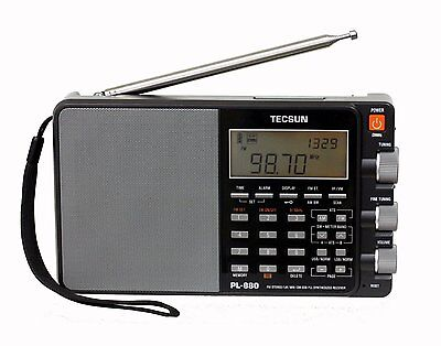 Used Tecsun PL880 PLL Dual Conversion AM FM Shortwave Portable Radio - Black