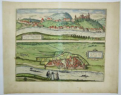 Braun-Hogenberg Sarburg Paltz Trier 1572 Kupferstich altkoloriert Hogenberg