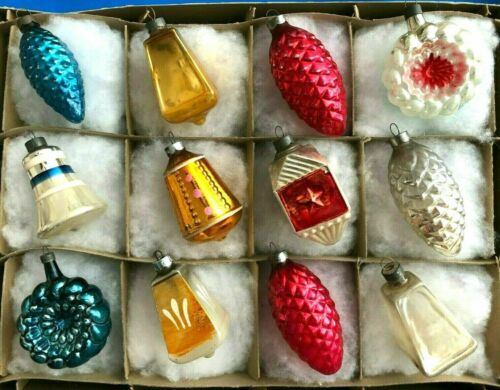 12 Vintage Antique Glass CORNING Christmas Tree Ornaments 1930 PATRIOTIC USA Box