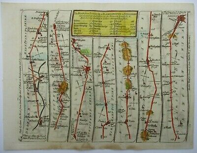 Antique Road Map of Peterborough to Lincoln by Thomas Kitchin 1767