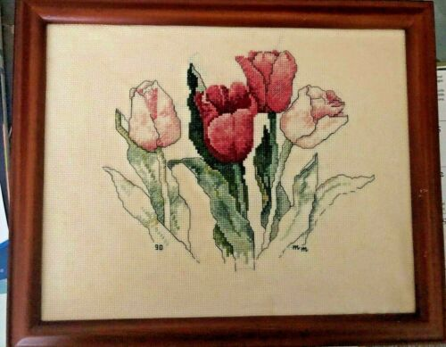 "Framed Finished Cross Stitch Tulips Flowers Wall Decor 11"" x 9"""