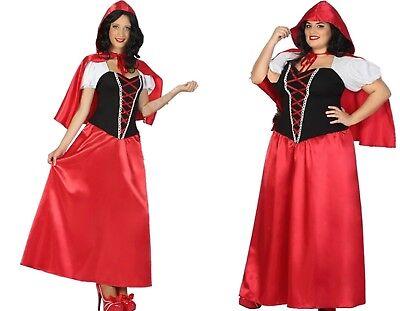 Damen Kostüm Rotkäppchen langes Kleid Cape XS/S M/L - Damen Märchen Kostüme