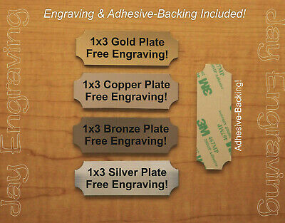 1x3 Custom Engraved Brushed Finish Tag Sign Plate Urn Shadow Box Trophy Plaque