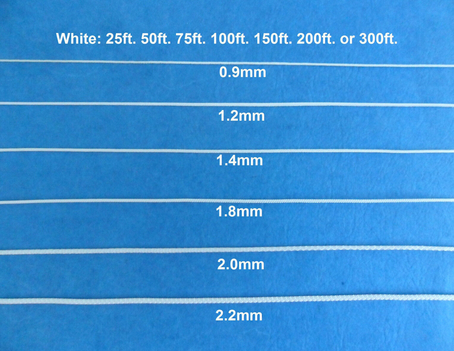 0.9mm 1.2mm 1.4mm 1.8mm 2.0mm 2.2mm White Blinds Shade Lift