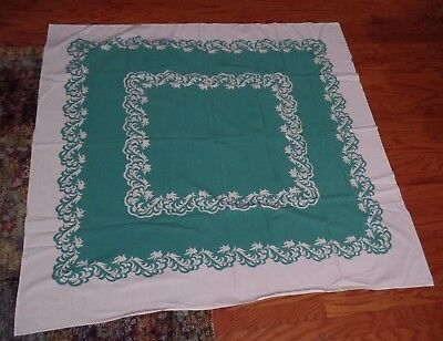 Shabby Chic Vtg Teal Verdant & White Tablecloth 46 x 52
