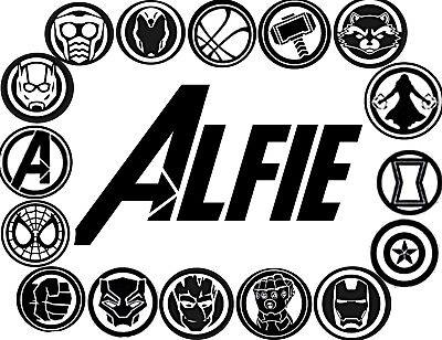 Avengers name vinyl wall/window stickers decor/decals kids (Marvel Decor)