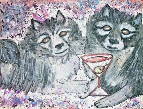 Keeshond drinking a Martini Art Print 4x6 Dog Collectible Signed by Artist KSams