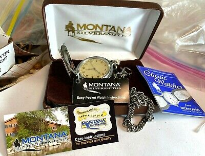 Vtg Montana Silversmiths Pocket Watch in Box Papers Embossed Star Chain Repair