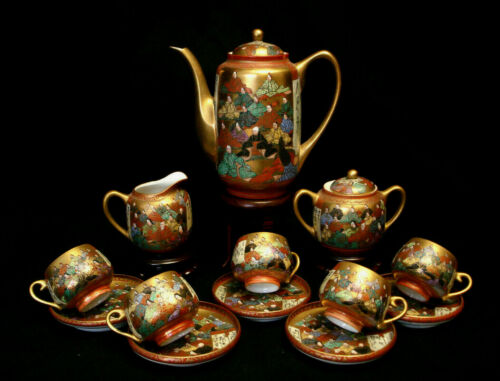 MARKED kutani Shokaku JAPANESE TAISHO TEA SET / POT & EGGSHELL CUP & SAUCER