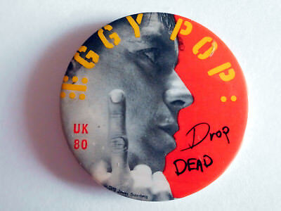 IGGY POP - Drop DEAD Tour UK 80 - Vintage Pin Button