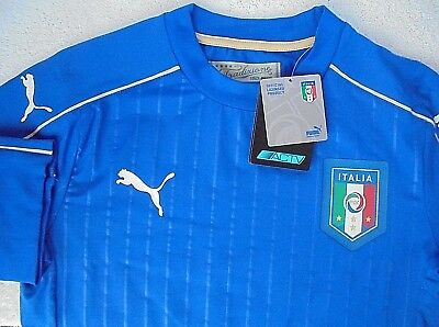 c4a686b36 New Puma Men s Sz L Authentic Italia Jersey 2016 2017 Home Blue Shirt MSRP   175