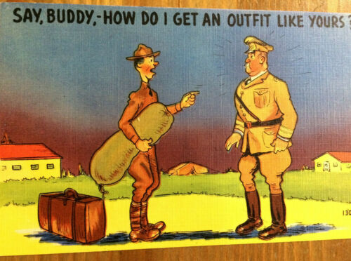WWII Postcard Colourpicture Pub Say Buddy, How Do I Get an Outfit Like Yours