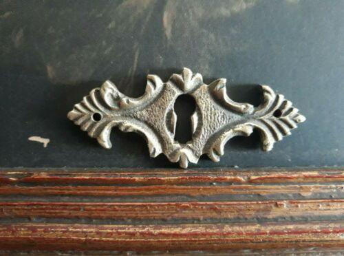 Vintage Solid Bronze Dresser Keyhole Cover Escutcheon #3