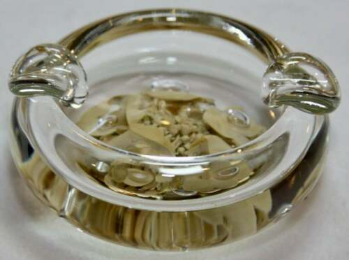 Small Paperweight Ashtray Light Brown Stamped Maude And Bob St. Clair 1982