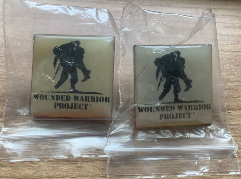 2 BRAND NEW VINTAGE WOUNDED WARRIOR PROJECT LAPEL HAT PIN COLLECTIBLE WWP IN BAG