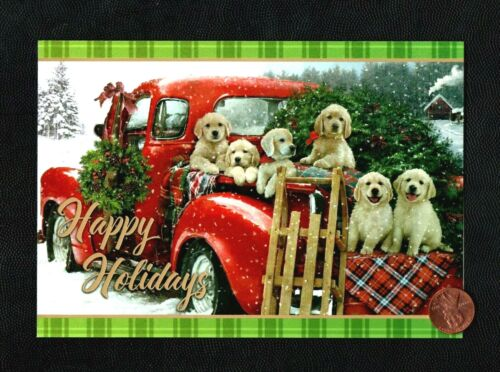 CHRISTMAS Red Truck Golden Retrievers Dogs Sled Snow Greeting Card - W/ TRACKING