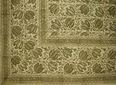 "Veggie Dye Block Print Tapestry Cotton Bedspread 106"" x 72"" Twin Green"