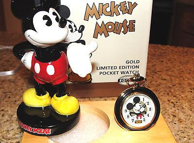 Disney Fossil Mickey Mouse Limited Edition Gold Pocket Watch & Figurine Li-1528