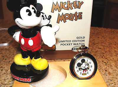 Disney Fossil Mickey Mouse Limited Edition Gold Pocket Watch & Figurine Li-1528