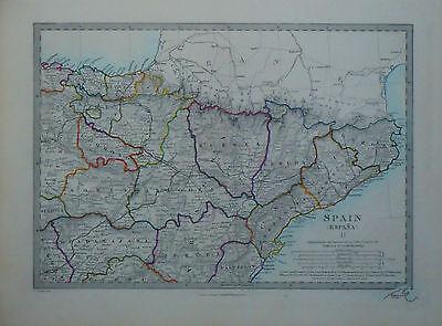 1847 Genuine Antique hand colored maps of Spain, 3 pc set . SDUK