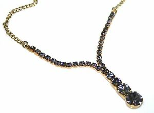 Zest Smokey Grey Y Shape Diamante Pendant Necklace