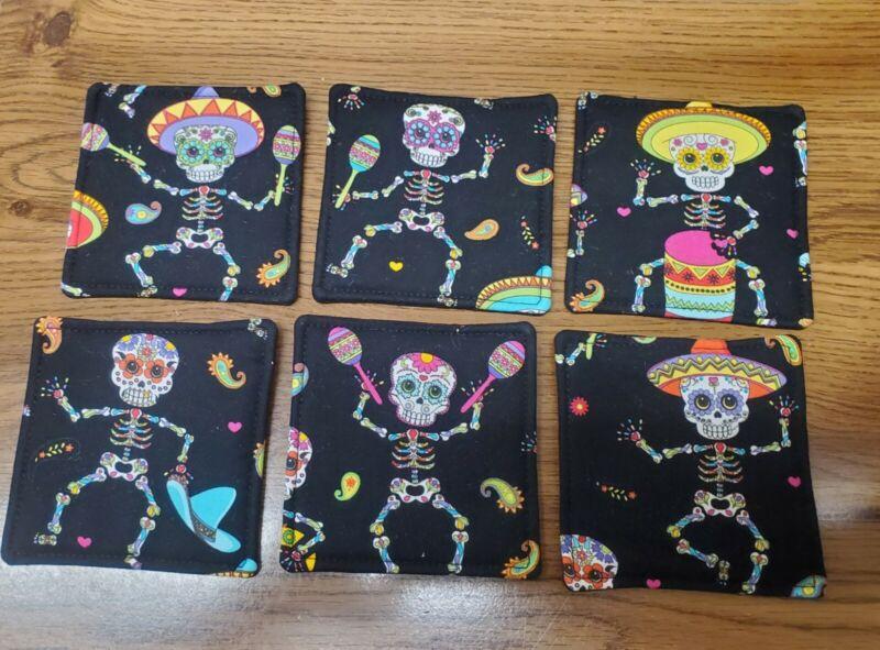 Dia de los Muertos Coasters Set Of 6 Sugar Skull