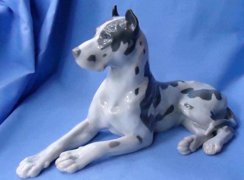 "12"" HARLEQUIN GREAT DANE BING GRONDAHL DENMARK DOG"
