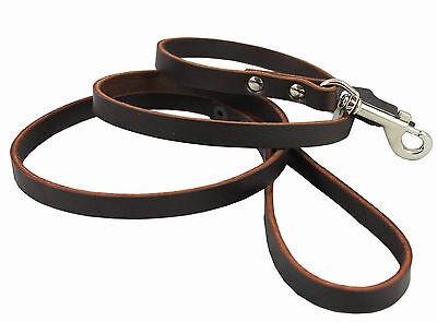 """Genuine Leather Dog Leash 4 Ft long, 1/2"""" wide for Small and Medium Dogs"""