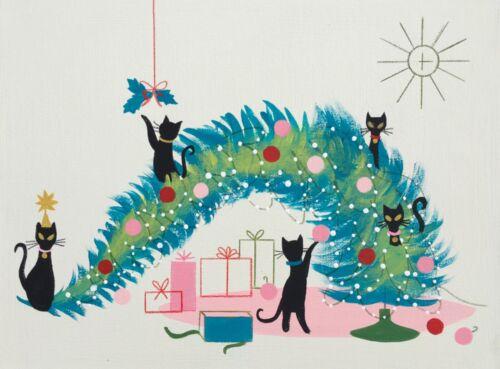 EL GATO GOMEZ RETRO VINTAGE CHRISTMAS TREE HOLIDAY MID CENTURY MODERN CATS FUNNY