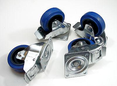 """Four Heavy Duty 4"""" Penn Elcom W0985-V6 Swivel Casters W/Brake, Blue Rubber Wheel"""