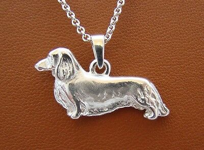 Sterling Silver Long-Haired Dachshund Standing Study Pendant