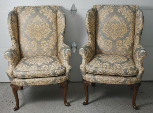 Pair of Baker Mahogany Wing Back Chairs Damask Fabric Williamsurg Style