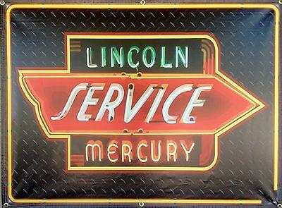 Lincoln Mercury Gas Service Station Neon Style Banner Sign Garage Art 4 X 3