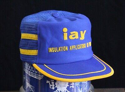 Vintage MADE IN USA 3 STRIPE Trucker Hat Snapback Cap Mesh IAY Insulation York