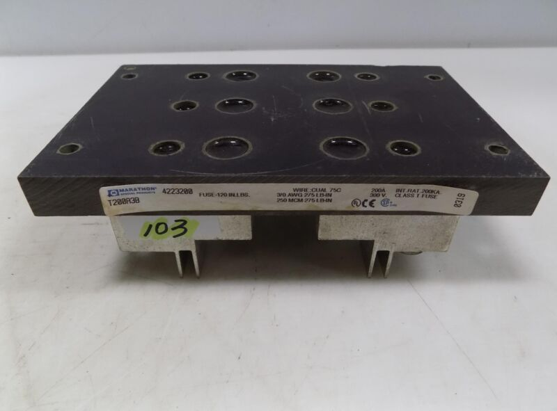 MARATHON 200A 600V FUSE BLOCK  T200A3B