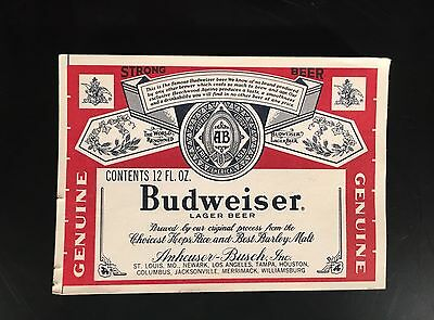 "1979/1980 Rare Budweiser Prototype Paper Bottle Label - ""Strong Beer"" - Never Ci"